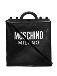 Moschino Logo Mesh Shoulder Bag Black