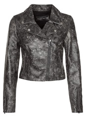 Freaky Nation Factory Girl Leather Jacket Grau Grey