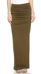 Three Dots Ruched Maxi Skirt Picholine