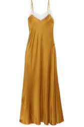 Miguelina Jacquelyn Lace Trimmed Silk Charmeuse Maxi Dress Gold