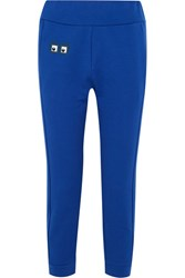 Fendi Appliqued Cotton Jersey Track Pants Royal Blue