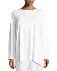 Eskandar Long Sleeve Pima Cotton T Shirt White