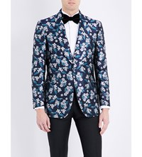 Gieves And Hawkes Tailored Fit Silk Jacket Navy