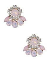 Stella Ruby Crystal Flower Post Earrings Pink