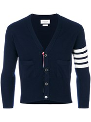 Thom Browne Short V Neck Cardigan With 4 Blue