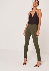 Missguided Skinny Fit Cigarette Trousers Khaki