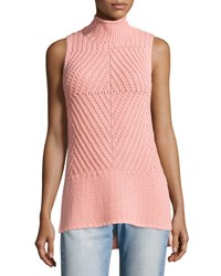 Alice Olivia Abbot Sleeveless High Low Mock Neck Sweater Light Pink