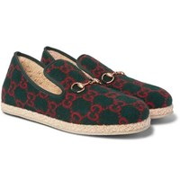 Gucci Fria Horsebit Logo Print Wool Loafers Green