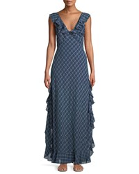 Leon Max Ruffle Trimmed Plaid Maxi Dress Blue