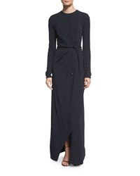 Narciso Rodriguez Long Sleeve Belted Faux Wrap Gown Navy Women's