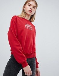 Cheap Monday Chest Logo Sweatshirt Brilliant Red