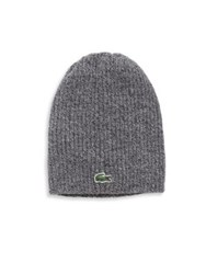Lacoste Ribbed Wool Knit Beanie Grey