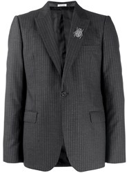Alexander Mcqueen Insect Embellished Pinstriped Blazer Grey