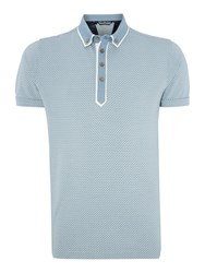 Duck And Cover Print Polo Shirt Light Blue