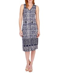 Lucky Brand Abstract Printed Dress Navy