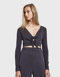 Which We Want Sondra Front Tie Top Charcoal