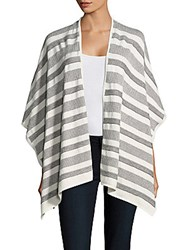 Leo And Sage Cotton Cashmere Asymmetric Wrap Grey Off White
