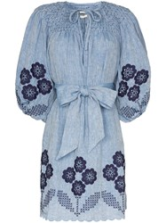 Innika Choo Embroidered Chambray Dress Blue