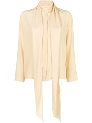 The Row Tie Neck Blouse Nude And Neutrals