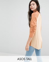 Asos Tall Jumper With Pleated Back Detail Peach Pink