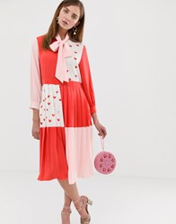 Sister Jane Midi Dress With Pussybow In Heart Print Colour Block Red