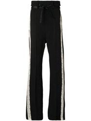 Ann Demeulemeester Victoria Flared Lace Detail Trousers Acetate Virgin Wool Black