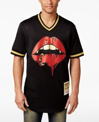 Hudson Nyc Men's Lip Drip Graphic Print V Neck Baseball Jersey Black