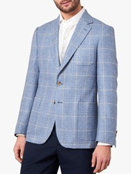 Jaeger Linen Silk Blend Overcheck Regular Fit Blazer Light Blue
