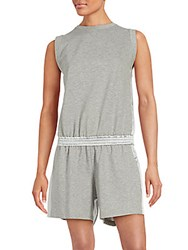 Brunello Cucinelli Cotton Blend Sleeveless Romper Grey