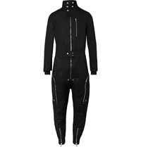 Rick Owens Leather Trimmed Cotton Blend Canvas Jumpsuit Black