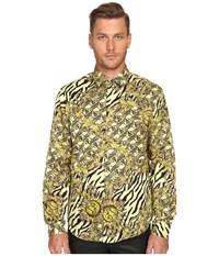 Versace All Over Baroque Tiger Print Long Sleeve Button Up Gold Melange