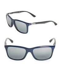 Ray Ban Rectangular Wrap Around Sunglasses Rb8352 Blue