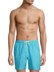 Barbour Gingham Swim Shorts Aqua