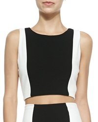 Alice Olivia Two Tone Sleeveless Crop Top Black White