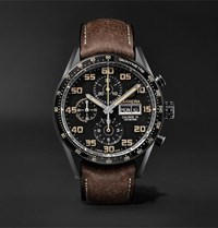 Tag Heuer Carrera Automatic Chronograph 45Mm Titanium And Leather Watch Brown