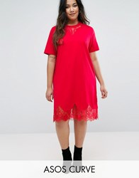 Asos Curve T Shirt Dress With Lace Inserts Raspberry Red