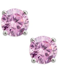 Giani Bernini Pink Cubic Zirconia Round Stud Earrings In Sterling Silver Only At Macy's