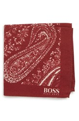 Boss Paisley Cotton And Wool Pocket Square Burgundy