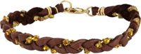 Ettika Crystal And Braided Leather Bracelet Brown