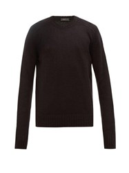 Prada Open Knit Virgin Wool Sweater Black