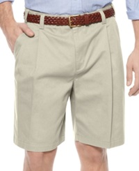 Geoffrey Beene Shorts Extender Waist Double Pleat Shorts Stone