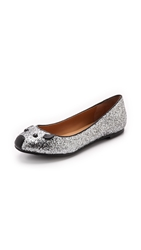 Marc By Marc Jacobs Space Glitter Mouse Ballerina Flats Silver Black