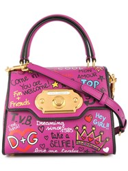 Dolce And Gabbana Welcome Printed Tote Bag Purple