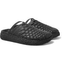 Malibu Colony Woven Faux Leather Sandals Black