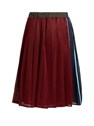 Muveil Mesh Pleated Skirt Burgundy Multi