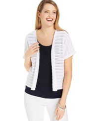 Jones New York Collection Open Knit Short Sleeve Cardigan White