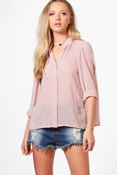 Boohoo Button Through Pleated Back Blouse Nude