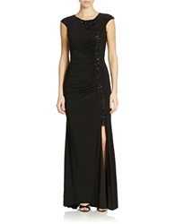 Js Boutique Side Slit Embellished Gown Black
