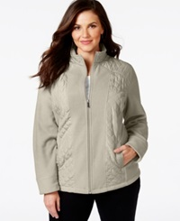 Style And Co. Sport Plus Size Mixed Media Zip Up Track Jacket Only At Macy's White Truffle