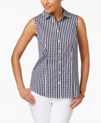 Charter Club Sleeveless Print Shirt Only At Macy's Intrepid Blue Combo